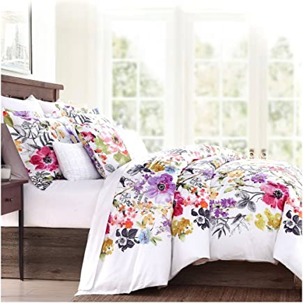 featured product Tahari Home Vintage Botanical Wild Flower Print Duvet Quilt Cover by Envogue Cotton Sateen Bedding Set Colorful Floral Watercolor Branches Drawing of Summer Blossoms (King)