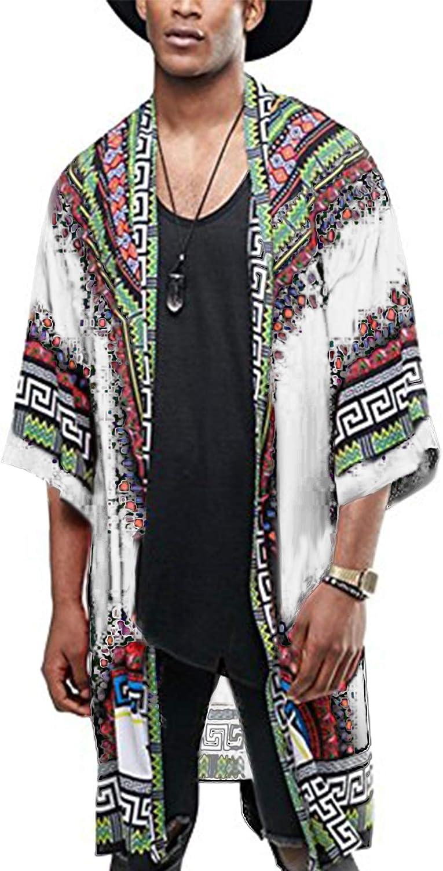 COOFANDY Mens African Dashiki Print Ruffle Shawl Collar Cardigan Lightweight Long Length Drape Cape
