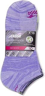 Avia Women's Performance Lightweight Flatknit NO SHOW Socks (Bright Assorted, Sock Size 9-11; Shoe Size 4-10)