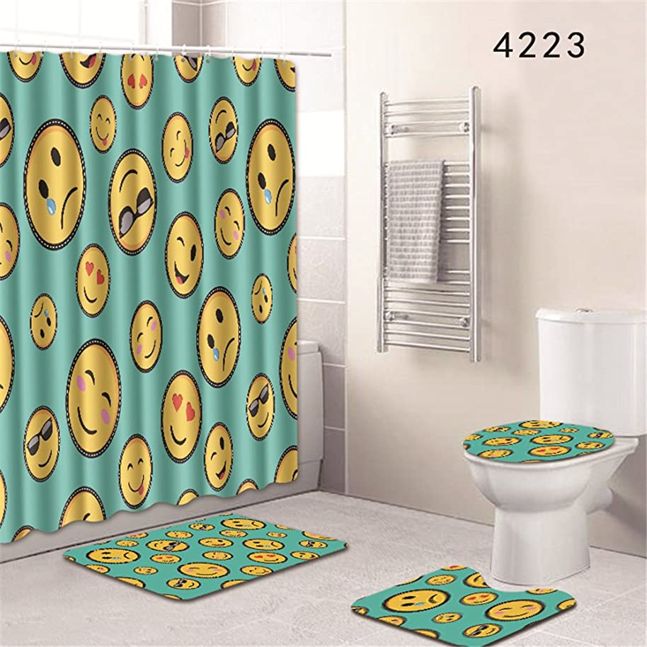 Oyeahbridal Set of 4 Colorful Smiley Expression Shower Curtain and Bath Mat Set,Smile Funny Emoji Chart Decor Waterproof Non-Slip Bathroom Curtain and Rug Set with Hooks(Multi 20)