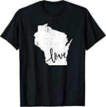 Wisconsin Home Love Vintage state map outline shirt T-Shirt