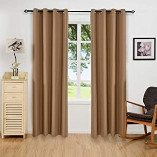 ALLBRIGHT Thermal Insulated Grommet 100% Blackout Curtains for Bedroom (2 Panels, 52 x 84 Inch, Mocha Brown)
