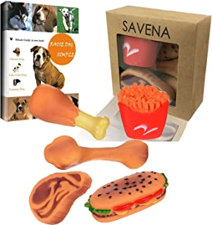 Savena Squeaky Dog Toy Pack Upgrade Made by Non-Toxic Odorless Environmental Material No-Stuffing Toy Bite Resistant, Dog Raising EBook Included