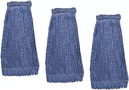 KLEEN HANDLER Heavy Duty Commercial Mop Head Replacement | Wet Industrial Blue Cotton Looped End String Cleaning Mop ...