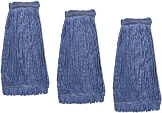 KLEEN HANDLER Heavy Duty Commercial Mop Head Replacement | Wet Industrial Blue Cotton Looped End String Cle...