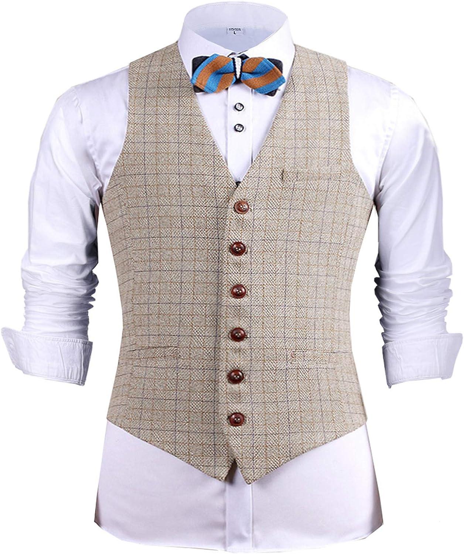 Men's Formal Suit Vest Slim Fit Tweed Waistcoat Herringbone Wool Plaid Vest Wedding Groomsmen