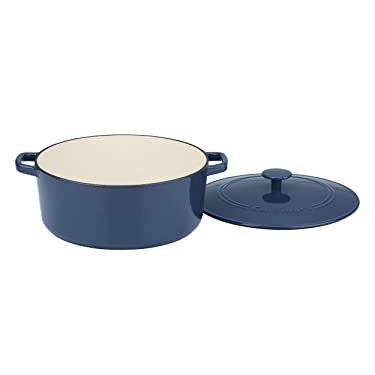 Cuisinart 7 Qt Round Casserole, Covered, Enameled Provencial Blue