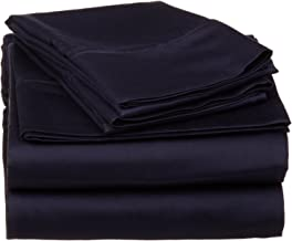 530 Thread Count, 100% Premium Combed Cotton, Single Ply, Split King 5-Piece Sheet Set, Solid, Navy Blue