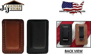 J&J Custom Premium Leather 9mm Double Stack Single Magazine Carrier Holder Holster W/Belt Clip