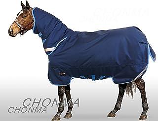 CHONMA Horseware 1680D Oxford 300G Fill Winter Waterproof Heavyweight Detach Neck Navy Blue Turnout Horse Rug
