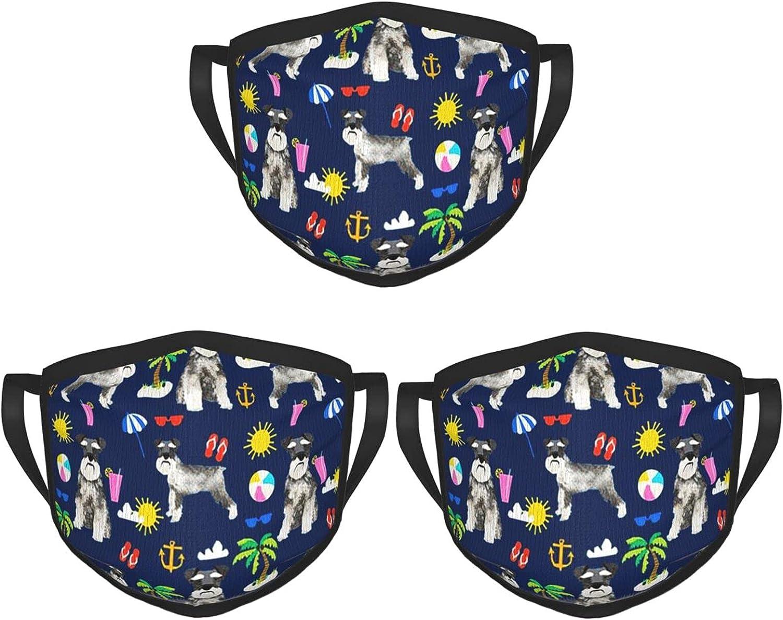 Balaclava Earmuffs Schnauzer Dogs Summer Beach Vacation Face Mouth Cover Mask Reusable Dust Scarf Towel Cover Headwrap