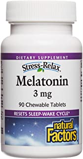Natural Factors Stress Relax Melatonin 3 mg - 90 Chewable Tablets
