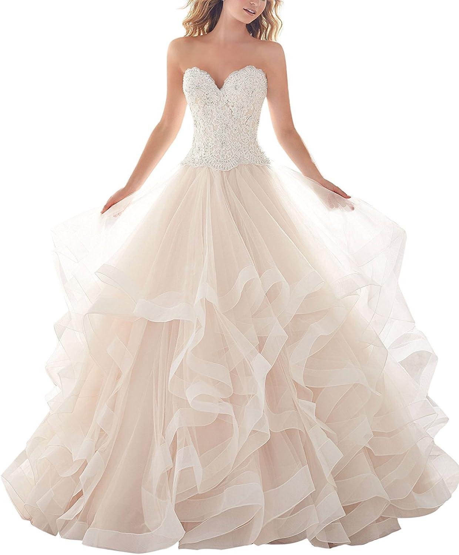 Weiterstar Women's Empire Applique Lace Sweetheart Sweep Train ALine Buttons Wedding Dress