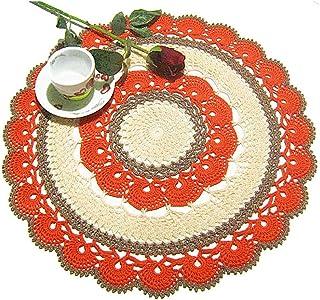 Centrino grande rotondo arancione tortora e beige all'uncinetto - Dimensione: ø 42 cm - Handmade - ITALY