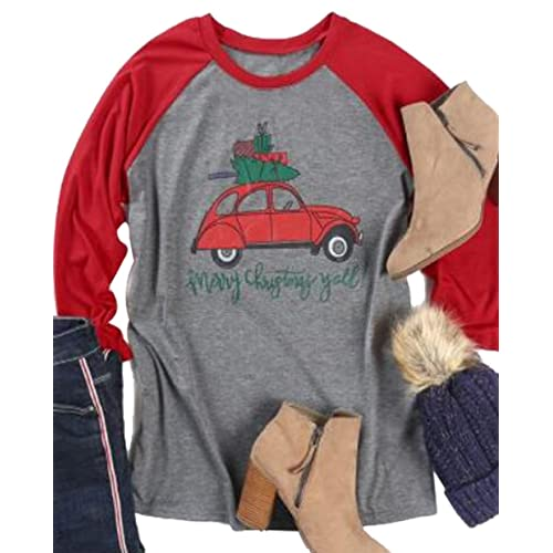 b97176da81c95 Merry Christmas Y all Baseball T Shirts Women 3 4 Raglan Sleeve Christmas  Truck