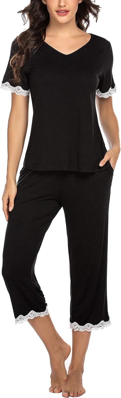 Hotouch Women's Pajamas Set Lace Short Sleeve Sleepwear Pjs Capri Pants Sets S-XXL