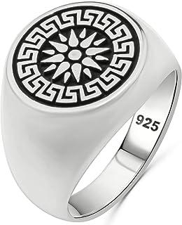 Greek Key Meander Key Design Solid 925 Sterling Silver Luxury Sun Ring for Men