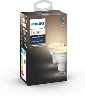 Philips Hue White Ambiance Pack 2 bombillas LED inteligentes GU10, luz blanca de cálida a fría, compatible con Bluetooth y Zigbee (Puente Hue opcional), funciona con Alexa y Google Home