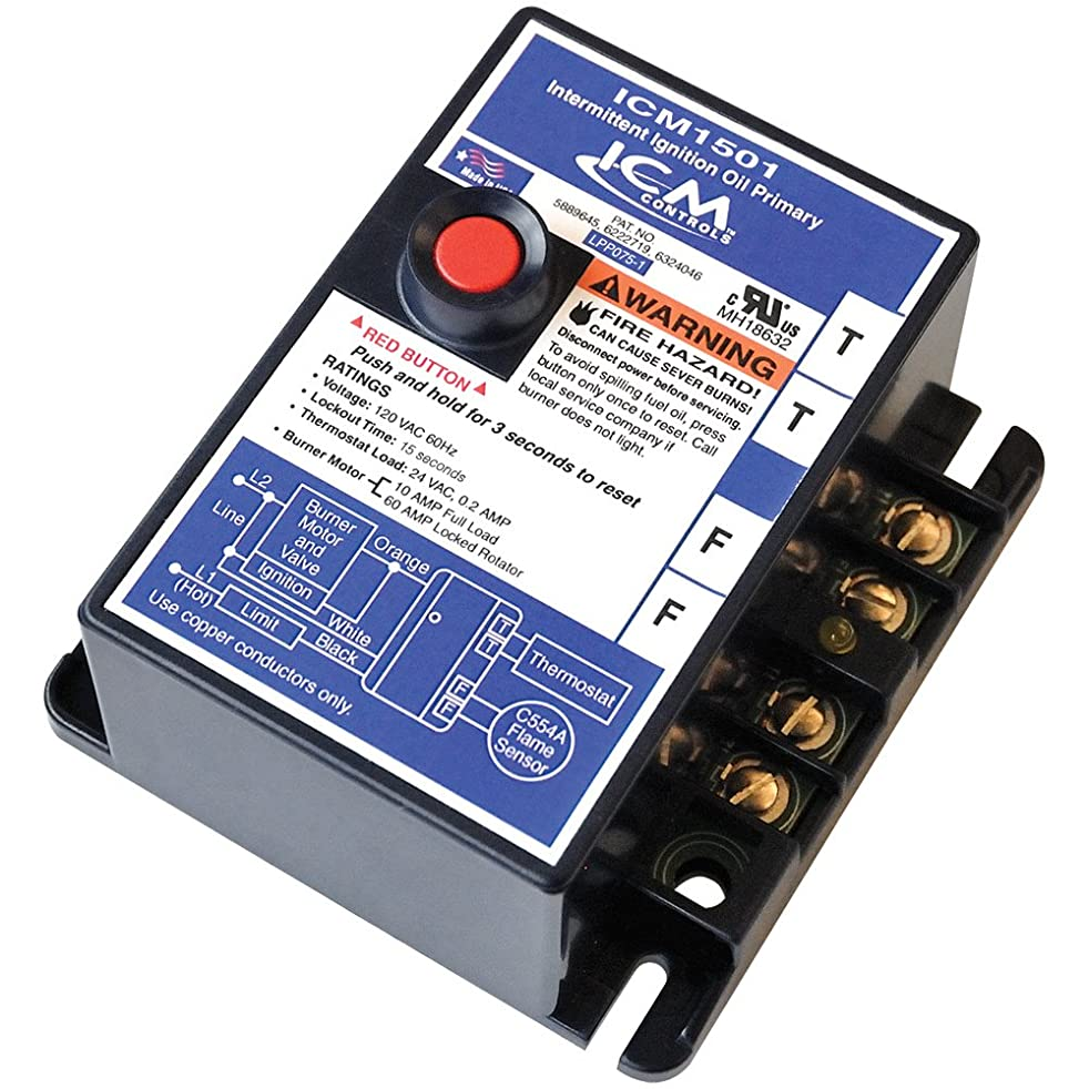 ICM Controls ICM1501 Intermittent Ignition Oil Primary Control with 15 Seconds Safety Timing, Replacement for R8184G Series Honeywell