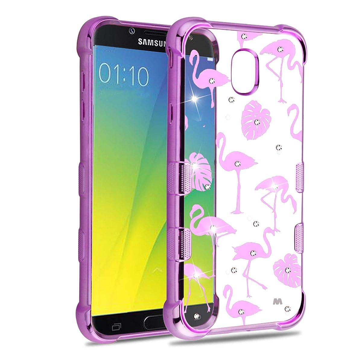 Insten Tuff Klarity Flamingo PC/TPU Rubber Case Cover with Diamond Compatible with Samsung Galaxy J7 (2018)/J7 Refine/J7 Star/J7 V 2nd Gen (2018), Clear/Purple
