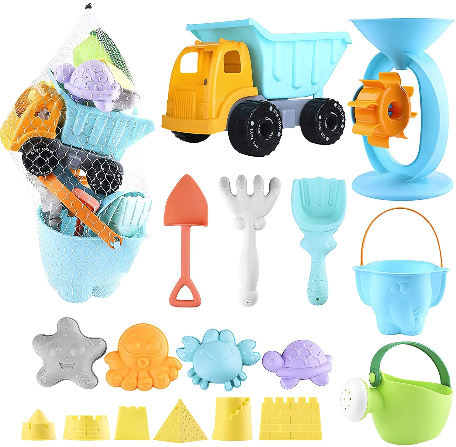 balnore Beach Toys with 20 Pieces Pail El Paso Mall Mesh Car Animals Bag Safety and trust