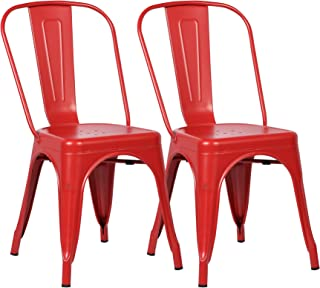 Poly and Bark Trattoria Kitchen and Dining Metal Side Chair in Red (Set of 2)