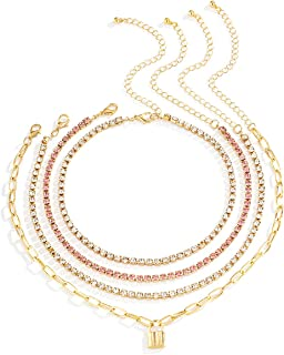 قلادة بقفل سلسلة التنس قلادة أنيقة من حجر الراين قلادة للرجال والنساء مجوهرات بلينغ