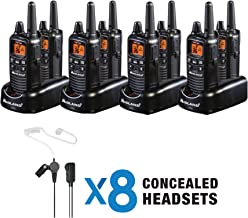 Midland - Business Radio Bundle - LXT600BBX4, 36 Channel FRS Two-Way Radio - Concealed Headsets, eVox for Hands-Free Operation, NOAA Weather Scan + Alert (8 Pack) (Black)