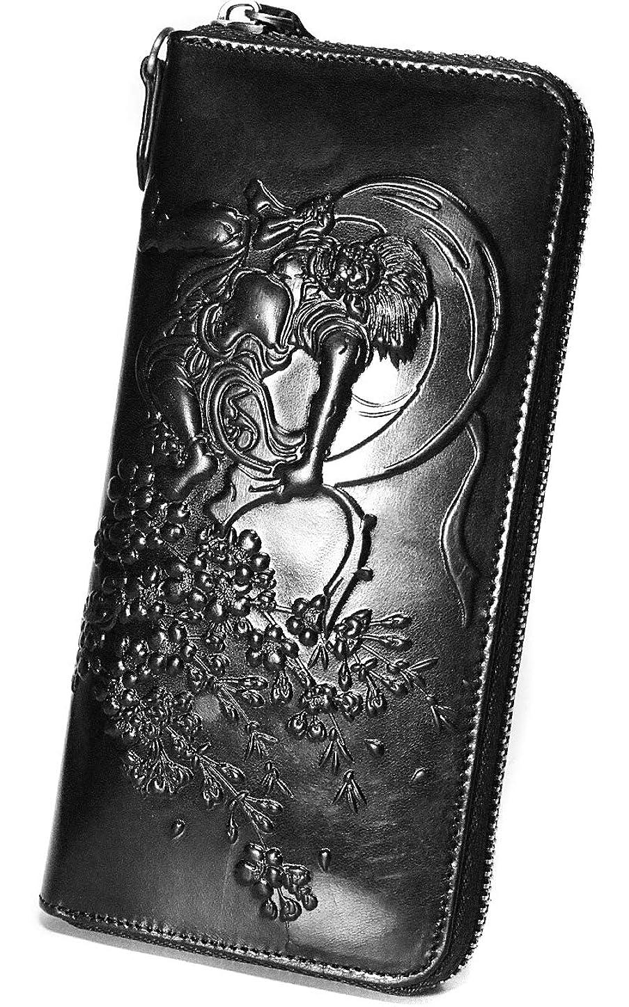 メナジェリーましい息切れ金運アップ 長財布 エンボス加工 風神雷神 イタリア製レザー 本革 ブラック ME0272_c2