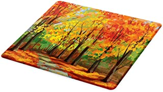 Ambesonne Rustic Cutting Board, North Woods Falling Leaves Fall Park Road Autumn Leaves Seasonal Colors Romantic, Decorative Tempered Glass Cutting and Serving Board, Large Size, Green Brown