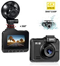 Lifechaser Dual Dash Cam 4K+1080P Front and Rear Car Camera 3840x2160P WiFi GPS Night Vision, 2.4