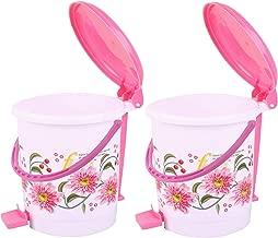 Kuber Industries Exclusive 2 Pcs Virgin Plastic Medium Size Dustbin/Garbage Bin (Pink) KSKTC1973