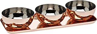 Godinger Hammered Tray with 3 Bowls, Copper