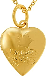 Lifetime Jewelry Tiny Heart Locket Necklace That Holds Pictures - Kids Jewelry Small Photo Locket - 24k Gold Plated Cute Pendant Necklace for Women and Girls - Choice of Charm With or Without Chain