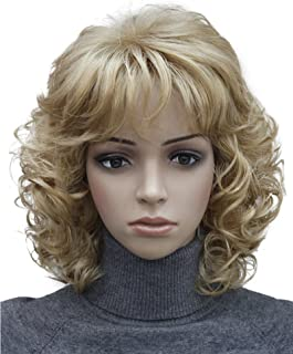 Kalyss Short Blonde Wig with Hair Bangs Women's Curly Wavy Heat Resistant Synthetic Blonde Hair Wigs for Women
