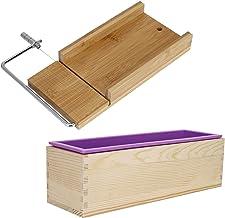 FZYE Moules à Savon, avec Doublure en Silicone pour Accessoires de Cuisine Kit de Fabrication de Savon, Bois de Bambou Fac...