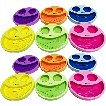 Kids Trends Smiley Face Plates for,Return Gifts for Kids Birthday Party (Pack of 12)