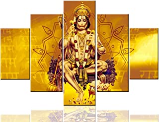 Art Work for Home Walls Hanuman Pictures Golden Hindu God Painting on Canvas 5 Pcs/Multi Panel Art Contemporary Artwork Home Decor for Living Room Framed Ready to Hang Posters and Prints(60''Wx40''H)