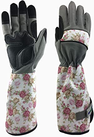 GREENLINE - Long Micro Fiber Synthetic Leather Rose Garden Gloves Gardening Gloves Working Gloves (Rose/Light Grey)