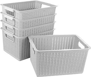 STARVAST 5pcs Panier de Rangement Plastique, Portable Boîte de Rangement de Bureau, Panier Salle de Bain, Panier de Rangem...