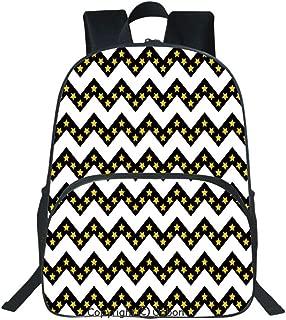 Oobon Kids Toddler School Waterproof 3D Cartoon Backpack, Black Zig Zag Chevron Pattern with Inner Stars Parallel Striped Lines Art Print Decorative, Fits 14 Inch Laptop