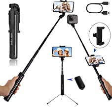 Selfie Stick Tripod, Chargeable Extendable Selfie Stick with Detachable Wireless Remote, Aluminum Alloy Rod, for iPhone,Galaxy, Gopro, Huawei and Sports Camera Selfie Stick