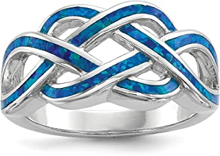 925 Sterling Silver Blue Inlay Created Opal Knot Band Ring Claddagh Celtic Fine Jewelry For Women Gift Set