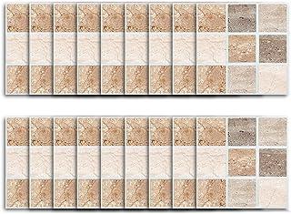 Pegatinas de Azulejos 10 10 cm 3D autoadhesiva Impermeable Etiqueta de la Pared Mosaico Simple Wallpaper Art Decal para ba...