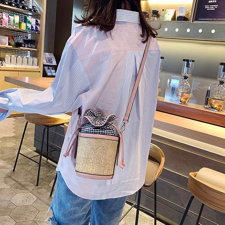 シェルオデュッセウスキャラクターファッション女性レトロ織り格子革バケットバッグクロスボディバッグショルダーバッグ、女性のヴィンテージ織格子縞ステッチバケットバッグ斜めバッグ (ピンク)