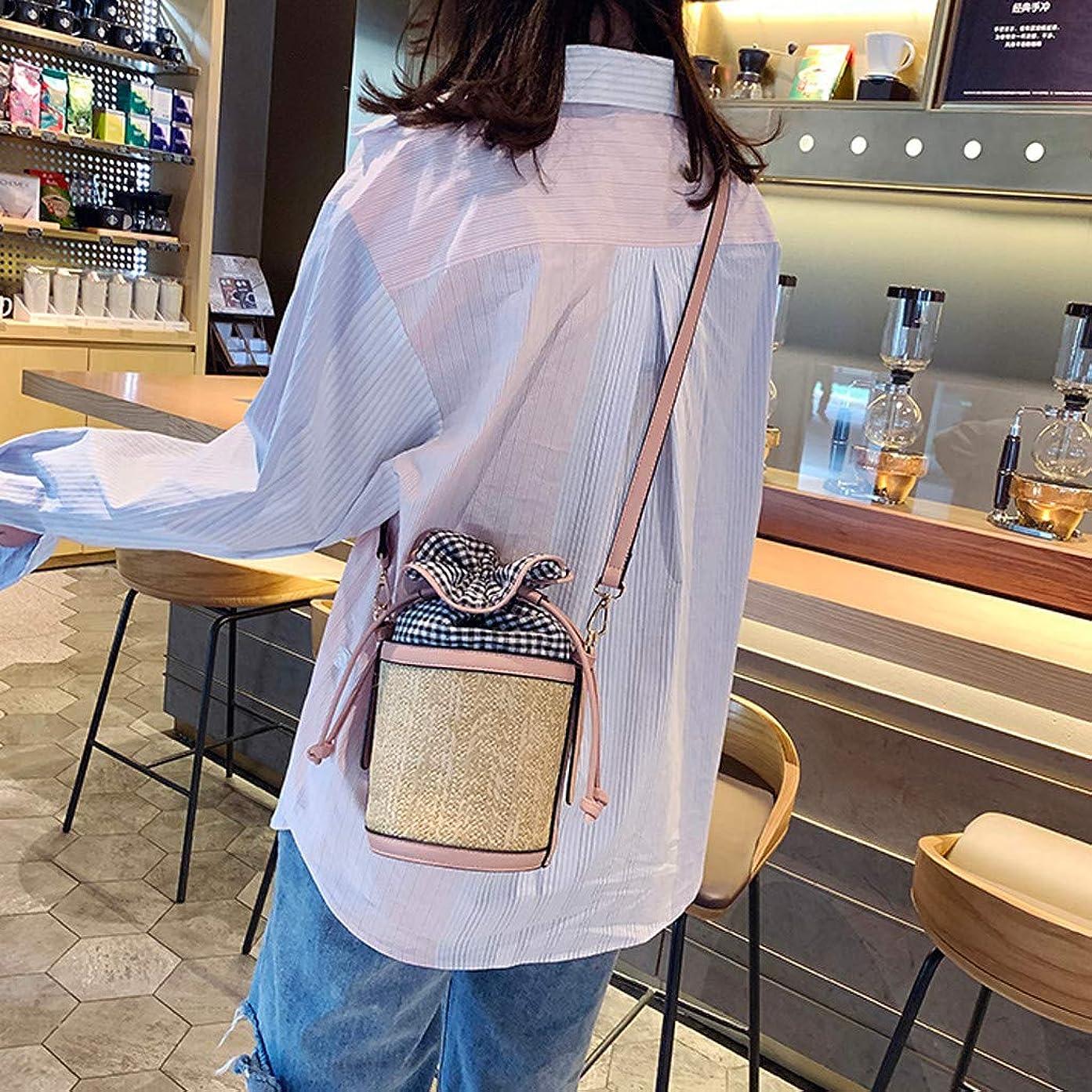 リズミカルなルーキー蒸ファッション女性レトロ織り格子革バケットバッグクロスボディバッグショルダーバッグ、女性のヴィンテージ織格子縞ステッチバケットバッグ斜めバッグ (ピンク)