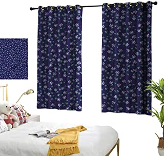 Lightly Fabric Shower Curtain Liner Navy Blue,Daisies and Vines Pattern 63