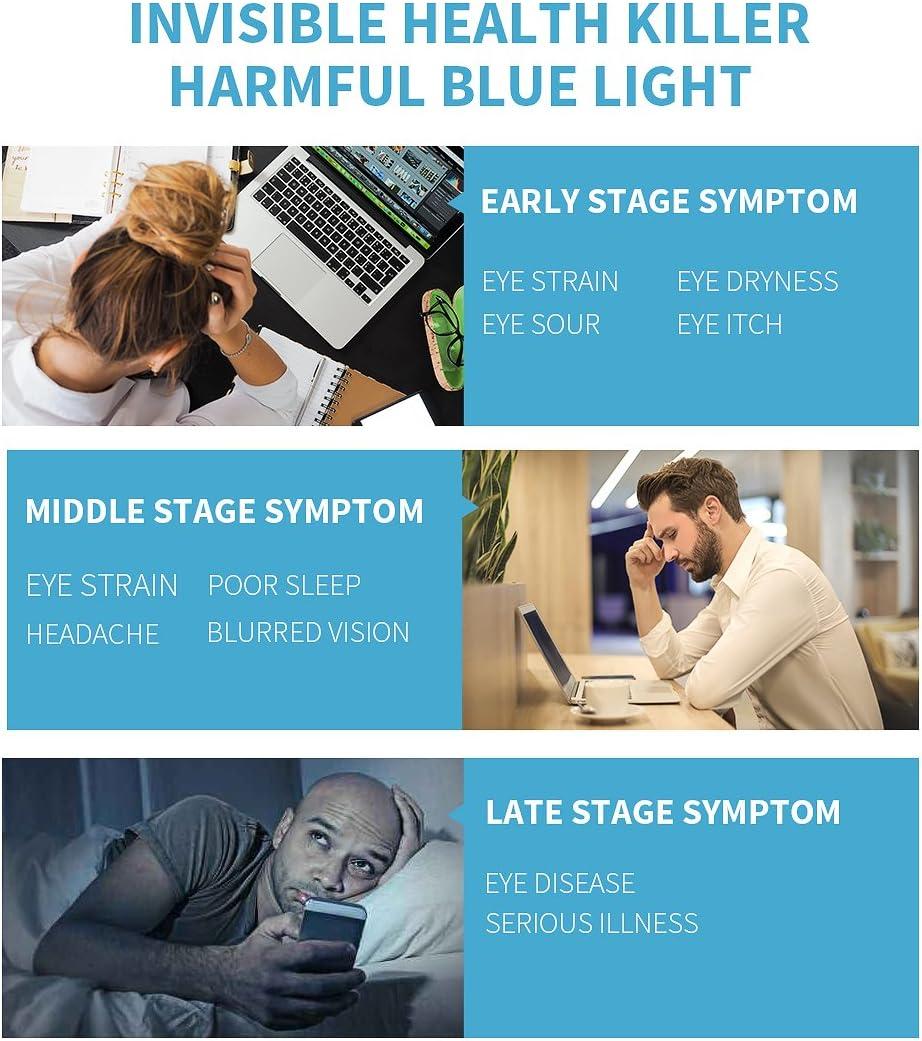 Vseegrs Blue Light Blocking Glasses Anti Eyestrain/Prevent Eye Dryness - Blue Light Shield Computer&Phone Reading/Gaming Glasses- Essential Computer Glasses (Matte Blue& Grey, Lens Width 42mm)