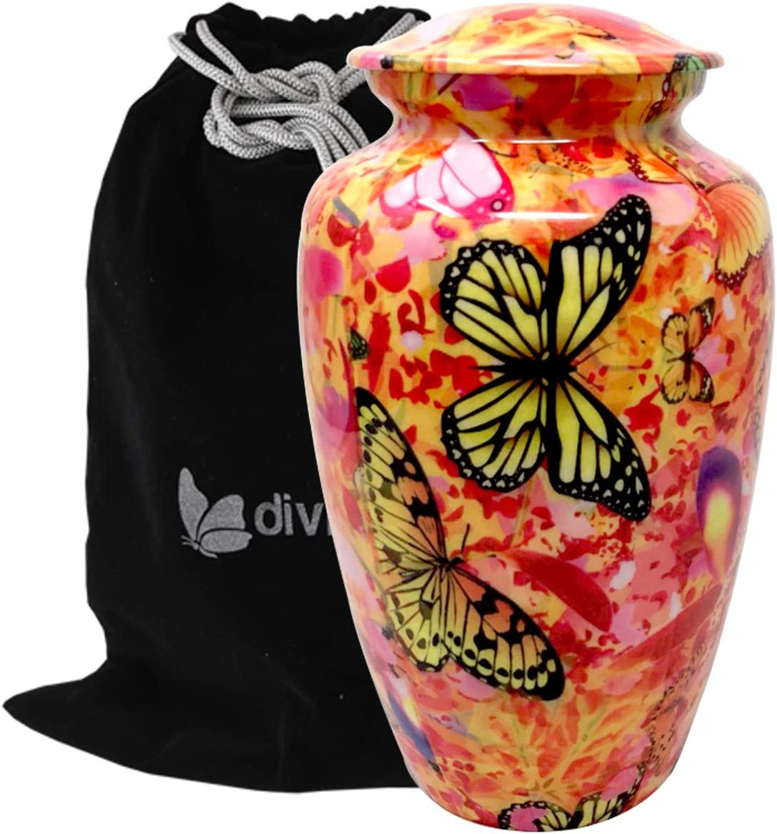 Liveurns Butterfly Camouflage Metal Cremation Urn - Adult Urn - Solid Metal Funeral Urn - Handcrafted Adult Funeral Urn for Ashes - Great Urn Deal - Free Bag Included