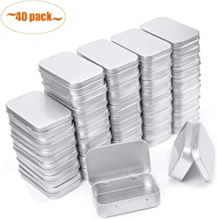 Aybloom Metal Rectangular Empty Hinged Tins - 40 Pack Silver Mini Portable Box Containers Small Storage Kit & Home Organizer